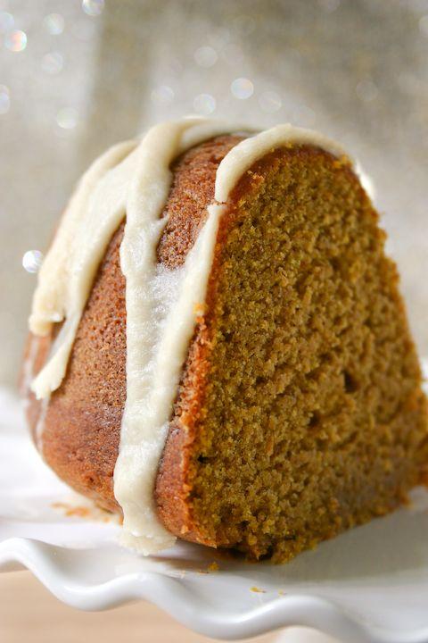 Pumpkin Buttermilk Bundt Cake with Brown Butter Icing.