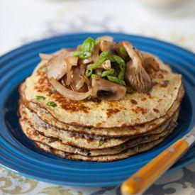 Oat Bran Savory Pancake with Mushroom Caviar.