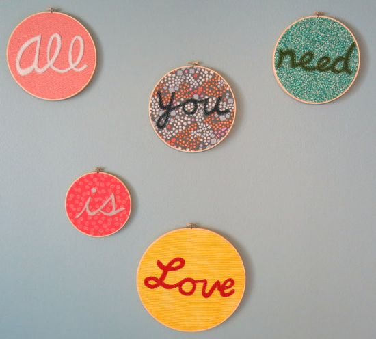 Love the idea of multiple embroidery hoops on a wall to spell a message, one word at a time.
