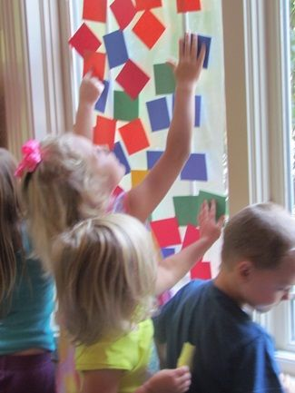 Sticky square collage by Teach Preschool