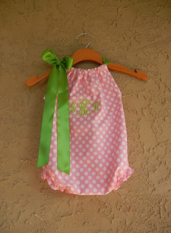 Monogrammed Pink Dot Pillowcase Bubble Romper  by theuptownbaby, $32.00