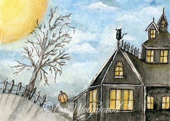 ACEO - The Pumpkin and the Cat - Halloween Watercolor Print - Vintage Nest Designs, Creative Handmade and Hand Painted Designs