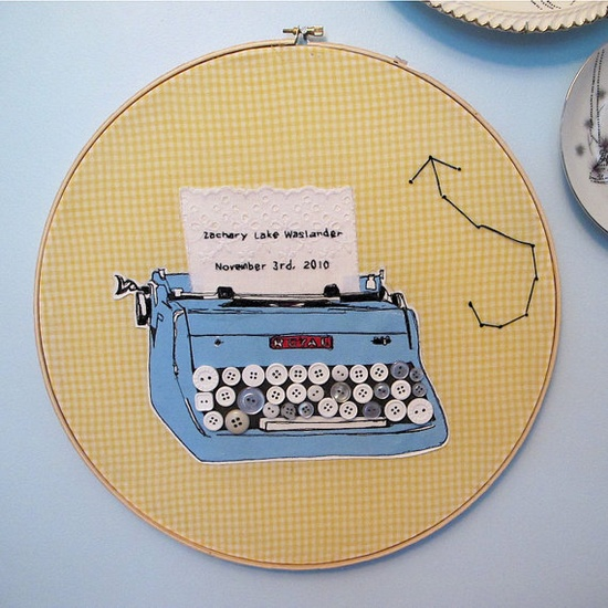 typewriter embroidery with buttons and lace