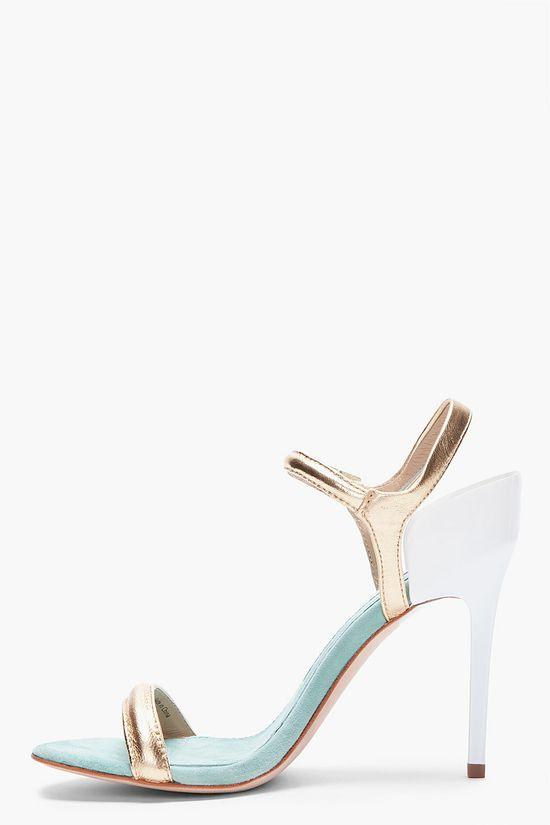 DIANE VON FURSTENBERG // Gold strap heels