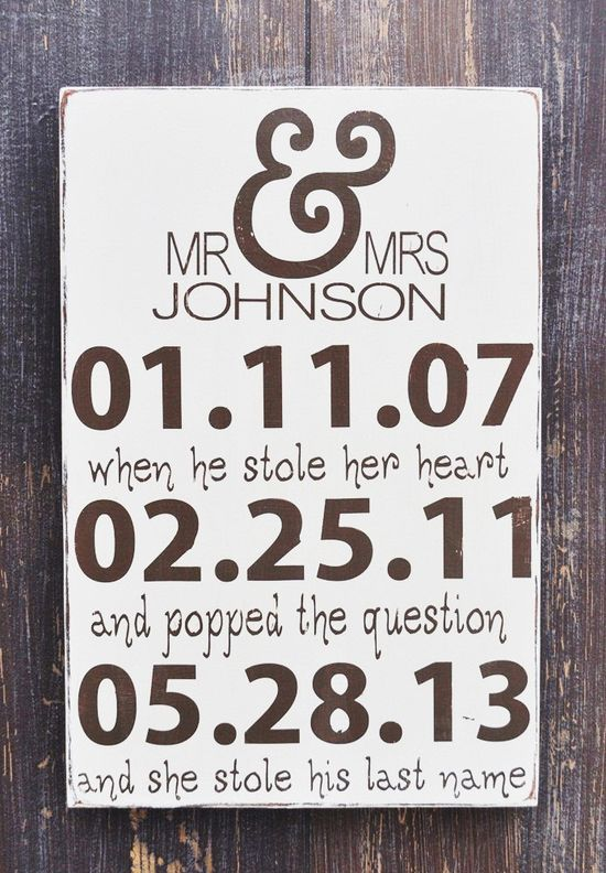 Personalized Engagement Gift,Wedding Gift, Engagement Present, Bridal Shower Gift, Custom wood wedding sign. $38.00, via Etsy.