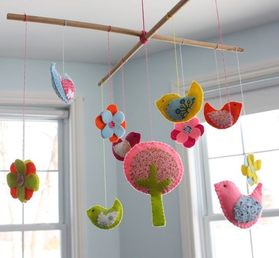 felt mobile birds flowers