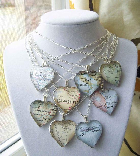 Custom Glass Heart Map Necklace