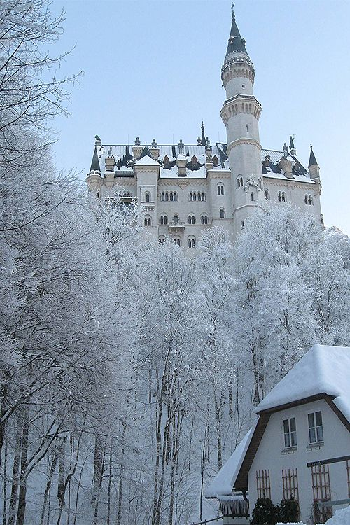 Snowy Day, Neuschwanstein Castle, Germany photo via hickory