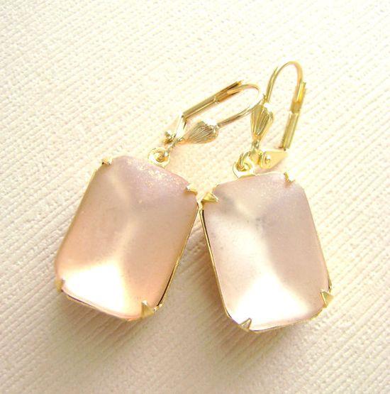 Frosted Light Pink Gold Earrings Estate by RachellesJewelryBox