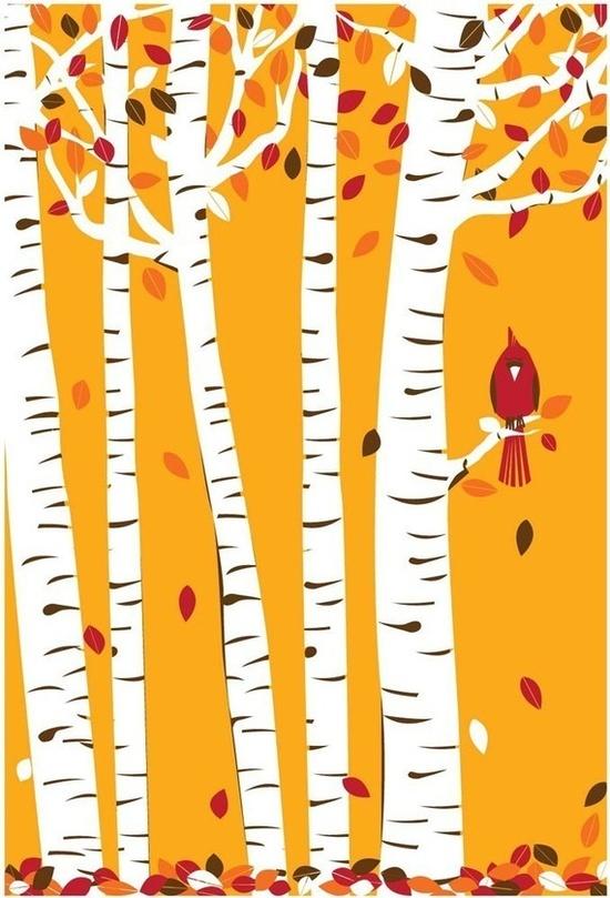 Autumn Cardinal silkscreen print - hand pulled art ~ strawberryluna