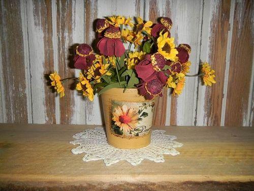 Yellow Daisy Tin Flower Arrangement # 1117