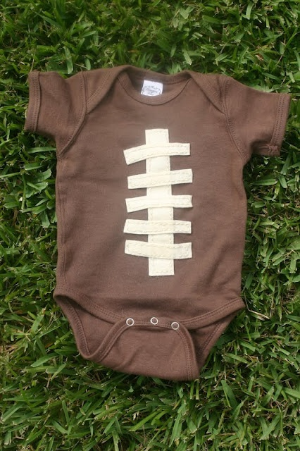 Football Season is here! Treat your baby to some Game Day goodness and make this ADORABLE football onesie via lineacross.com!
