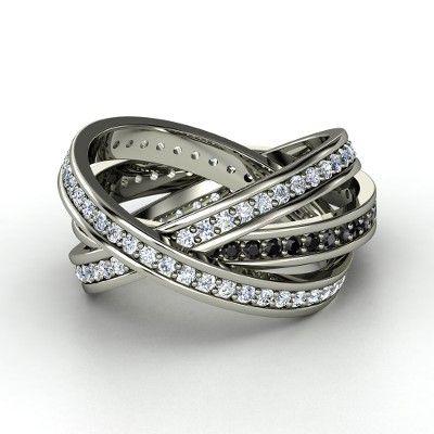 14K White Gold Ring with Black Diamond & Diamond  >> Wowza! So pretty!
