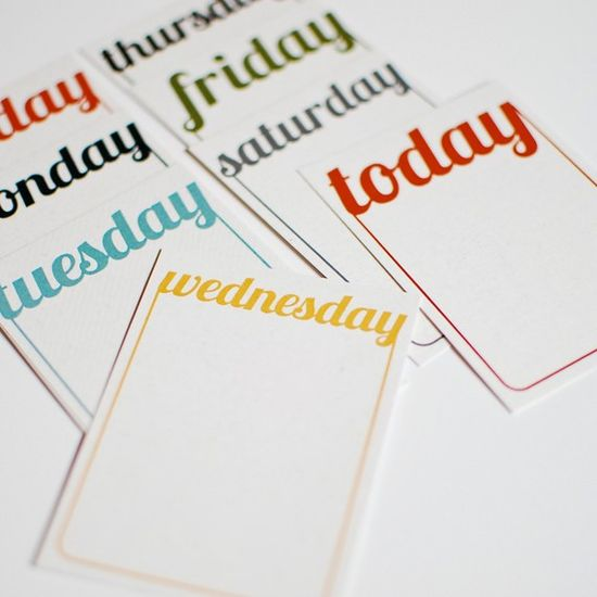 Project Life days of the week journal cards