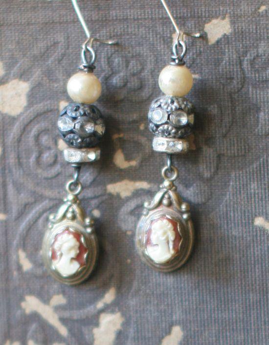Remember Me assemblage earrings crownedbygrace.et...