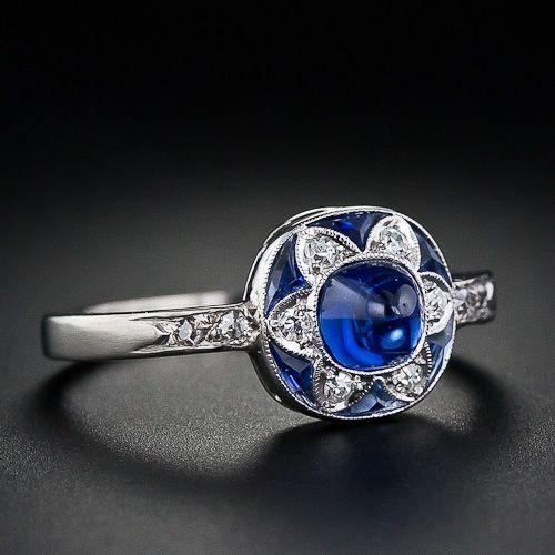 Art Deco sugarloaf sapphire and diamond ring, circa 1925. Such a pretty little ring.