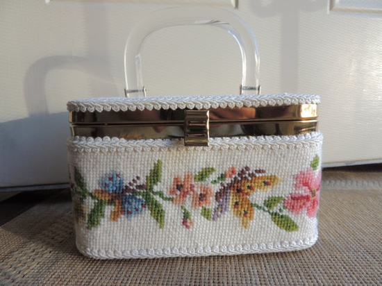 Vintage Needlepoint Box Purse Handbag by ShastaVintage on Etsy, $40.00