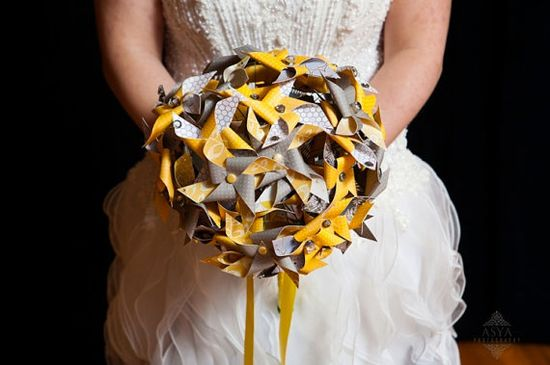 Paper Pinwheel bouquet by Rule42. Love the idea of fabric or paper bouquets especially fitting for a winter wedding, these bouquets won't freeze!