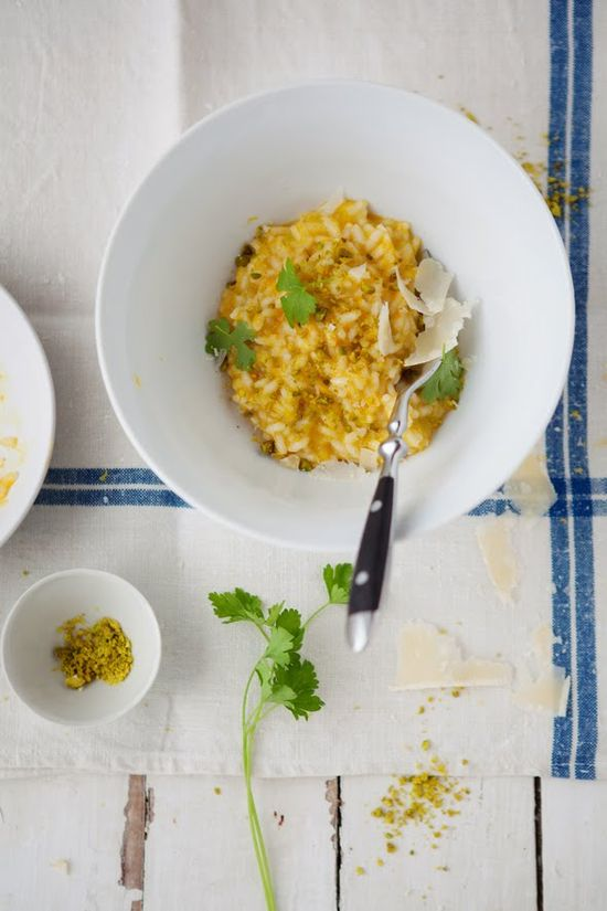 butternut squash risotto with pistachios and lemon.