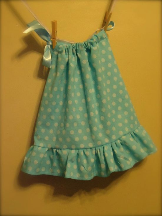 Blue Polka Dot baby girl Dress and Diaper