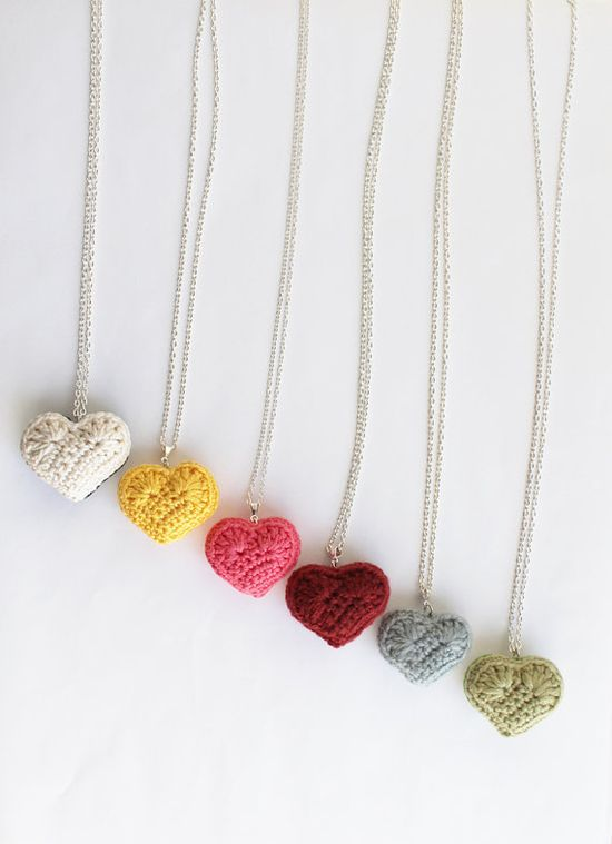 Crocheted Heart Necklace