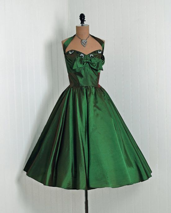 1950's Beaded Silk Party Dress ~ I love this green!