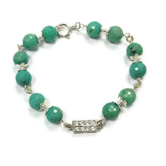 Chrysoprase Bracelet Green Bracelet Sterling by jewelrybycarmal, $65.00