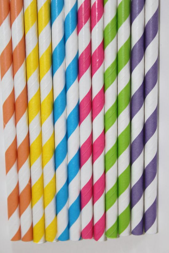 100 candy shoppe Striped Paper Straws  candyland  pink, aqua, lime yellow, orange, purple  Bonus DIY Flags. $16.00, via Etsy.