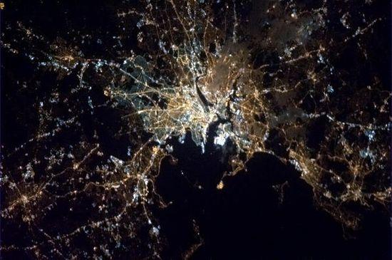"Bosten Marathon Bombings......""A somber Spring night in Boston."" April 15, 2013.  Taken from the International Space Station, Chris Hadfield."