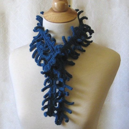 Cobalt Blue Bamboo Crochet Scarf  Lariat - silky and lightweight for Spring and Summer :)
