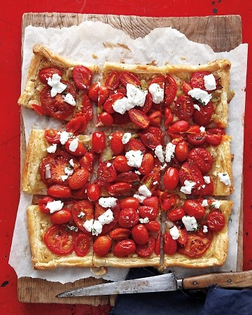 ? of 73 >  Tomato and Goat Cheese Tart  Using purchased puff pastry makes for quick preparation of this beautiful savory tart. Spread the pastry with a mixture of sour cream and grainy mustard, top with sauteed leeks and cherry tomatoes, and bake until golden brown. Finally, scatter crumbled goat cheese and fresh thyme or basil over the top.  Get the Tomato and Goat Cheese Tart Recipe
