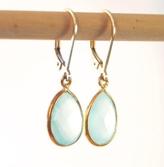 Keha earrings -  aqua chalcedony gold earrings, mint wedding earrings, aqua gemstone earrings, aqua wedding earrings, hawaii bridesmaid