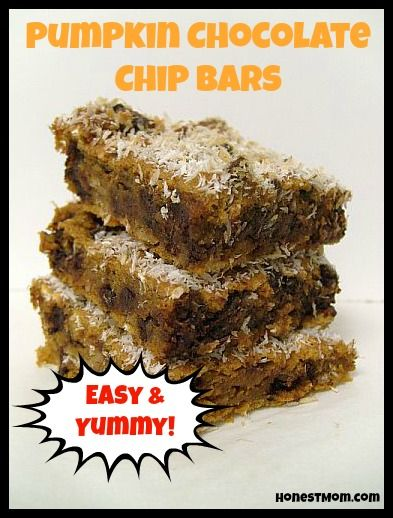 """My favorite #pumpkin recipes, including the best, super-easy pumpkin chocolate chip bars!"""