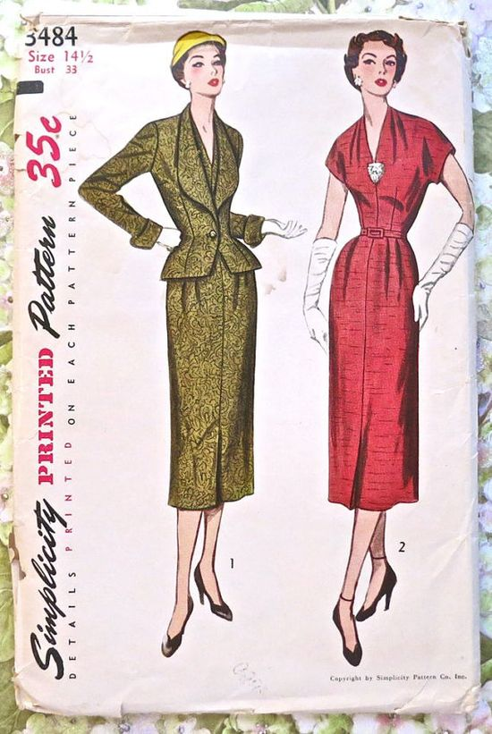 Simplicity 3484 - Vintage 1950s Womens Dress Pattern with Shawl Collar Jacket
