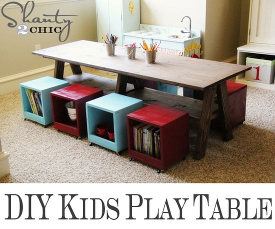 Brilliant #DIY idea for the kids room: use storage containers that double as seats for that much needed space!  #Organizing