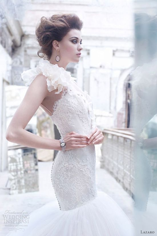 lazaro wedding dresses fall 2012 one shoulder tulle ball gown sweetheart elongated lace corset flowers crystal 3259