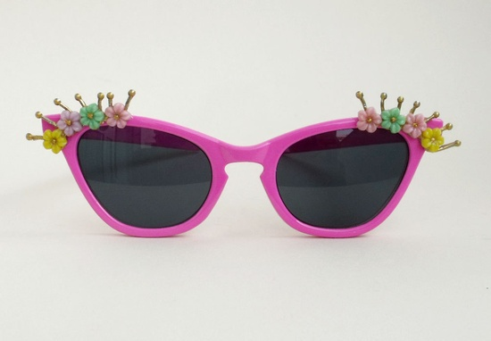 Vintage inspired Pink POP ART sunglasses with flowers. $65.00, via Etsy.