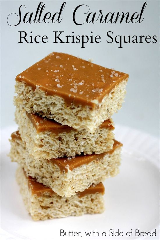 Salted Caramel Rice Krispie Squares - Butter With a Side of Bread  #recipes