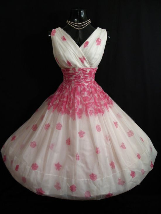 Vintage Floral Roses Chiffon dress