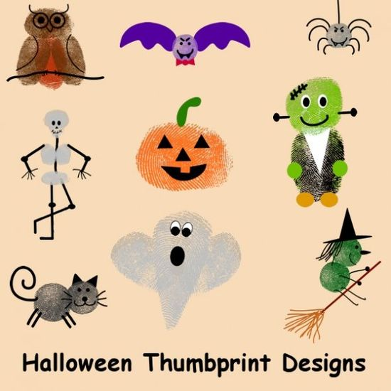 Halloween Thumbprint Designs - Re-pinned by #PediaStaff.  Visit ht.ly/63sNt for all our pediatric therapy pins
