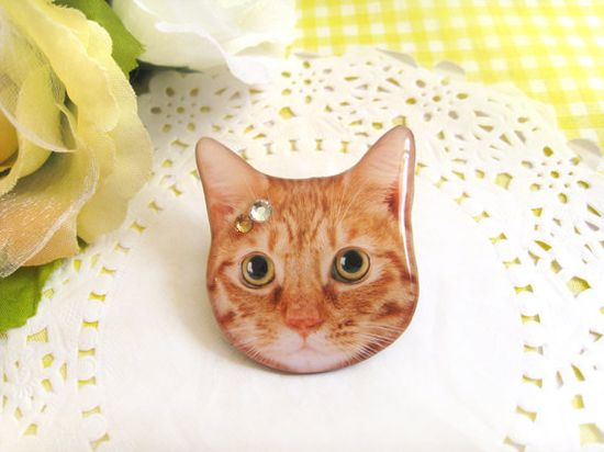 OMG I LOVE this shop! Orange domestic cat Brooch A0015F C20 by fazjewelry on Etsy, $7.00