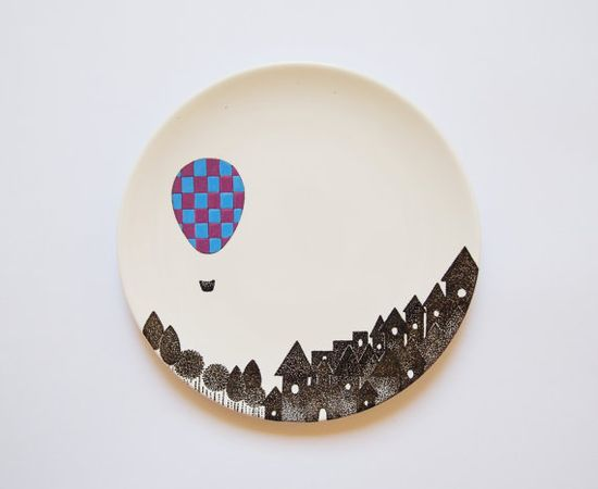 A night balloon  Small wall plate  Made to order by ZuppaAtelier, $48.00