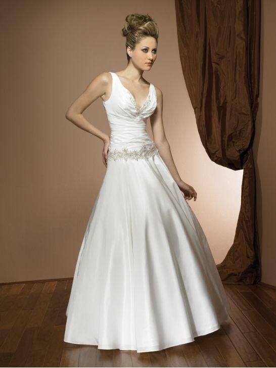 Buy Taffeta Ball Gown V-Neck Sleeveless Wedding Dress Online Dress Store At LuckyGowns.com