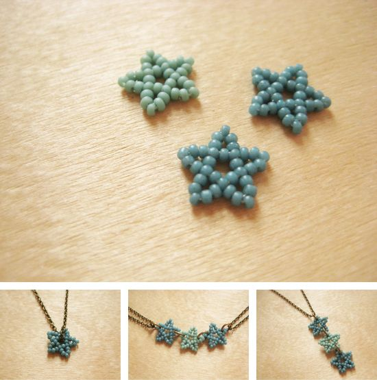 Make This - Beaded Stars - Luxe DIY - How Did You Make This? These tiny beaded stars are beautiful in their simplicity. The motif can be used in a variety of ways - from a single star on a chain to dozens as a charm necklace. Make them in soft colors like these for understated day wear or in metallic beads for sparkling night-out looks. After a bit of practice you can make one in just a few minutes. ?CQ #crafts #jewelry #DIY