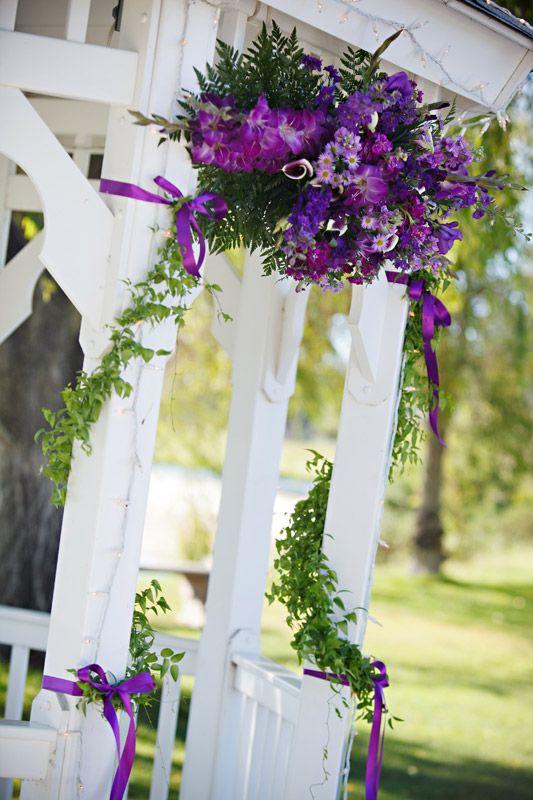 Purple Flowers At Gazebo