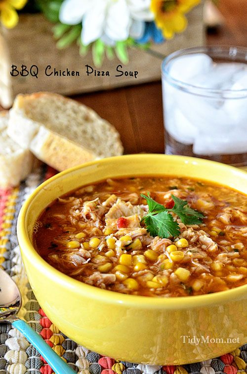 Easy Delicious dinner in 15 minutes! BBQ Chicken Pizza Soup recipe at TidyMom.net
