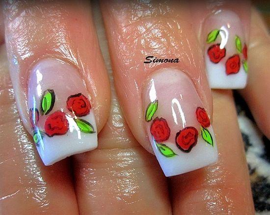 roses by simonaleucht - Nail Art Gallery nailartgallery.na... by Nails Magazine www.nailsmag.com #nailart