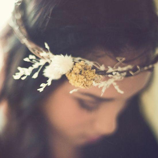 Understated floral crown.