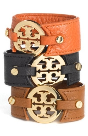 Tory Burch Leather Logo Buckle Bracelets