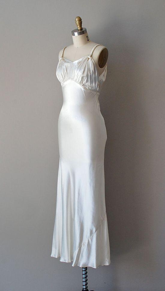 1930s silk satin wedding dress